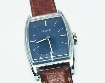 1990s Samis Blue Dial Mechanical Watch - Great Mechanical Watch for Women - New Brown Leather Band