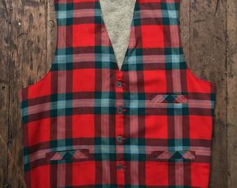 vintage 1950s Plaid woolen Jantzen vest