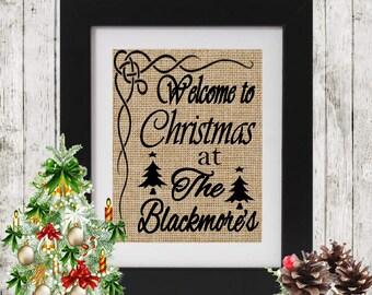 Custom Christmas Wall Decor - Welcome to Christmas at The - Rustic Wall Decor for Christmas - Christmas Decor -