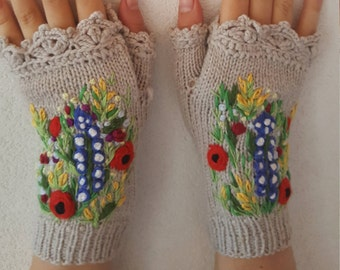 Knitted Fingerless Gloves Mittens Wildfloversg accessories embroidered Wool Lace