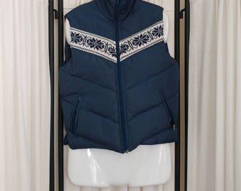 1980s Antler Winter Blue Down Ski Vest