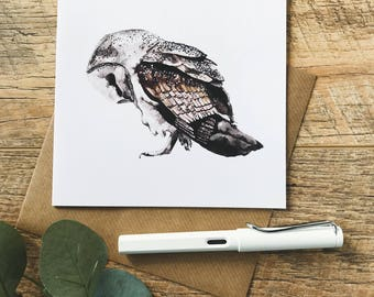Bowing Owl Square Greeting Card - SALE