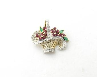 Vintage 14 Karat Yellow Gold Diamond, Emerald and Ruby Pendant #3075