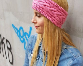 Pink cable wool headband, cute wool knit thick pink ear warmer, warm cute ear headband, snow cable knit winter headband, crochet headband