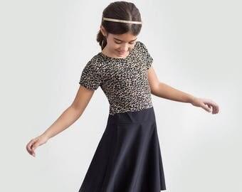 SALE - Two Tone Girly Pretty Beautiful Animal Print Black Bottom Designer Dress for Little Girls
