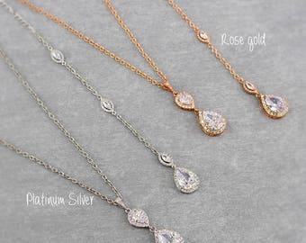 Wedding Necklace Navy Rose gold Zirconia Necklace Backdrop Bridesmaid Jewelry Bridal Necklace Something Blue Wedding Jewelry Bridal Jewelry