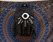 Open your eyes // Free form Crochet Upcycled Sweater //