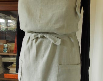 Linen apron, up-cycled, kitchen apron