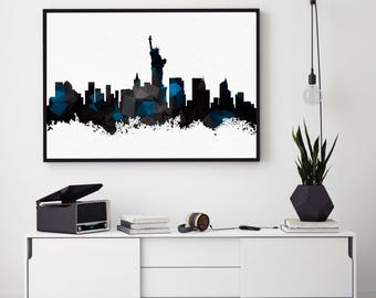 New York Skyline Art, New York City Print, NYC Poster, Home Wall Art Decor, Black And White NYC, Skyline Giclee Print (N115)