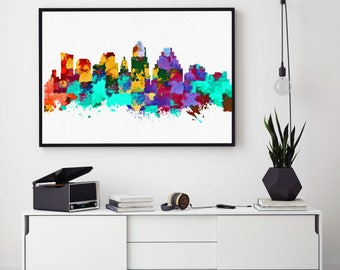 Austin Skyline Print, Austin Painting, Austin Art, Austin Wall Decor, Watercolor Austin, Texas Art, Austin Theme (N165)