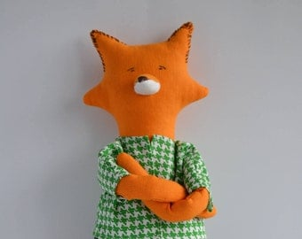Mister Fox - Stuffed fox toy -  Cuddly toy - Removable Clothing - Birthday gift