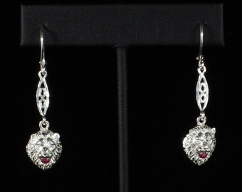 Lion Holding Red Stone in Mouth with Extender Bar Earring in Sterling Silver