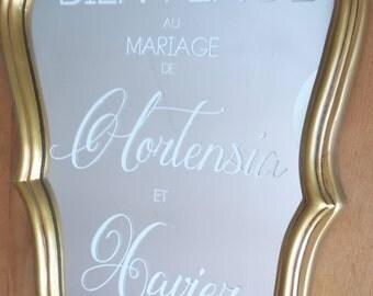 Sticker pour miroir . Autocollant personnalisable pour mariage. Sticker personnalisable Custom miror decal