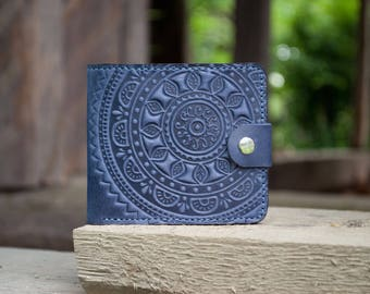 "Leather Small Blue Wallet ""Ethno"" 