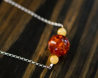 20mm Amber Chain Necklace