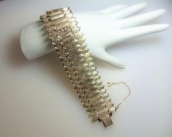 Vintage Wide Textured Geometric Gold Tone Bracelet Designer Signed Coro with Pegasus