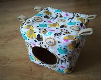 Safari cube, pet house, rat hammock, beige fleece, elephant, bird, giraffe, cake, lion, owl, heart