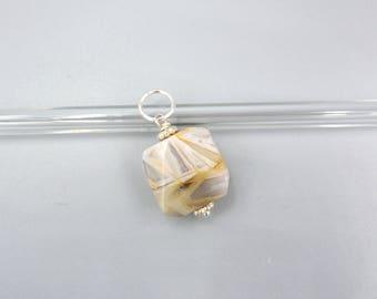Bamboo Agate Pendant,  beige Agate Pendant, faceted Agate Pendant - 925 Silver