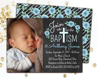 Baptism Invitation (Boy) Christening Invitations, Christening Party, Printable Baptism Invitations