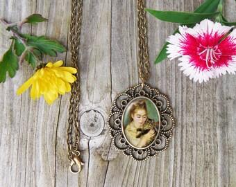 Cat Painting Necklace, Renoir Glass Dome Pendant Necklace