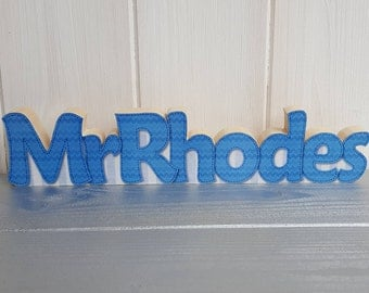 Personalised teacher name plaque, Small freestanding wood decoupage desk name decoration, Handcrafted wooden teacher gift