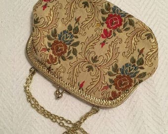 Vintage 1960s Albro Floral Tapestry Evening Bag