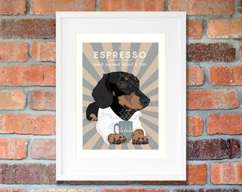 Doxie decor Coffee art print Dachshund a4 print Pet gifts for sister illustration wall decor gift for doxie lover art-sausage-dog-gifts