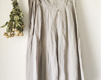 Grey Embroidered Linen Skirt
