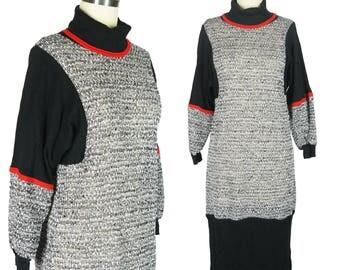 80s Dress 1980s Dress Cowl Neck Dress Striped Color Block Sweater Dress See-Through Knit