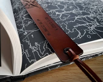 Personalised leather bookmark, personalized gift, coordinates GPS, GPS Bookmark, Custom bookmark, customized gift, Explorer