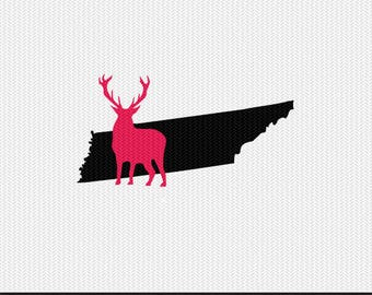tennessee deer svg dxf jpeg png file stencil monogram frame silhouette cameo cricut clip art commercial use