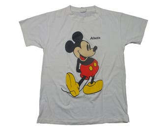 Vintage Mickey Mouse 1980s Atlanta Walt Disney Tee - Vintage 80s 90s Mickey Mouse Disneyland Cartoon Tshirt - L