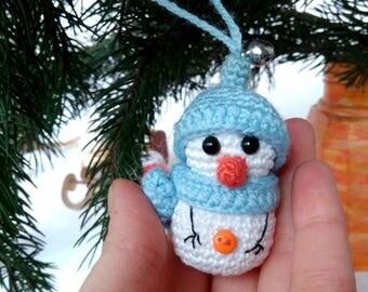 Christmas toys Snowman Crochet Christmas gift Christmas tree ornaments Stuffed snowman Holiday figurine Christmas decor