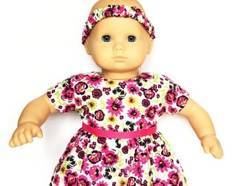 Baby Doll Dress, Headband, Flowers, Floral, Pink, Green, Black, White, Bitty Baby, 15 inch Doll Clothes