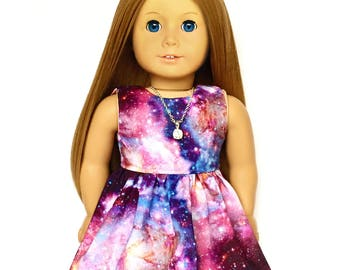 Sleeveless Dress, Outer Space, Luciana, Galaxy, Purple, Blue, Pink, Fits dolls such as American Girl, 18 inch Doll Clothes, GOTY