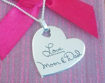 """1.5"""" (big size) Double Sided Handwriting Heart Necklace. Your actual loved ones signature or handwriting. Fine Silver"""