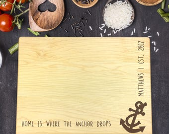 Personalized Cutting Board - Engraved Cutting Board, Custom Cutting Board, Wedding Gift, Housewarming Gift, Christmas Gift, Anchor, B-0055
