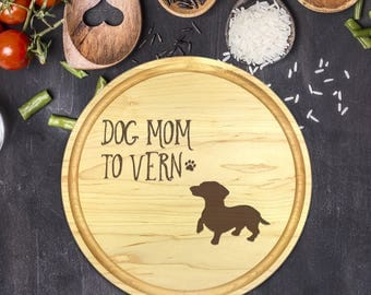 Custom Round Cutting Board, Personalized Round Cutting Board, Mothers Day, Gift for Mothers Day, Dog Lover, Gift for Dog Lover, B-00101