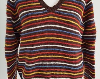 Vintage brown striped textured knit jumper