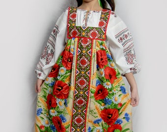 "Russian traditional dress ""Poppy"", Scenic costume, Girl russian dress, Folk dress, Russian souvenir, floral dress, flowered dress, sarafan"