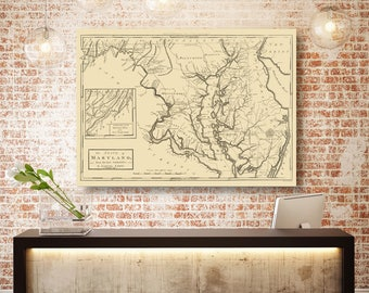 Maryland State Map, Maryland Map Canvas, Antiqued Maryland Map, Canvas Wall Decor, Maryland Wall Decor, Map of Maryland Canvas