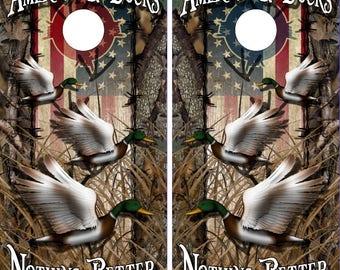 Wicked Wire American Duck Hunt Camo LAMINATED Cornhole Wrap Bag Toss Decal Baggo Skin Sticker Wraps