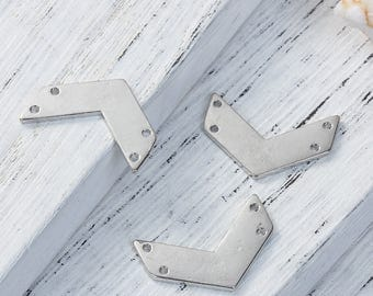 10 connectors double Chevron in silvered Metal 2,1cm