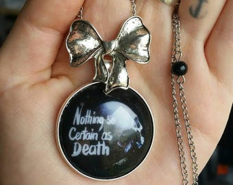 """Skull """"Nothing so certain as death"""" long necklace"""
