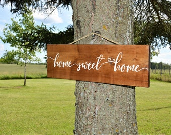 Home Sweet Home Sign / Engraved Home Sign / Script Home Sweet Home Wood Sign / Sign with Rope / Welcome Sign / Outdoor Hanging Home Sign
