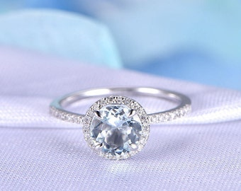 Aquamarine Engagement Ring 7mm Round Blue Stone 14k White Gold Diamond Wedding Band Bridal Ring March Birthstone Personalized for her