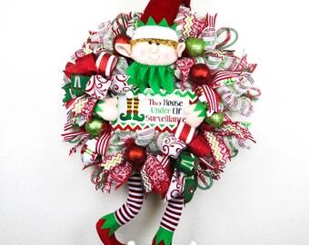 Christmas Wreath, Elf Wreath, Front Door Wreath, Deco Mesh Wreath, Whimsical Wreath, Elf Surveillance, Whimsical Elf, Holiday Wreath