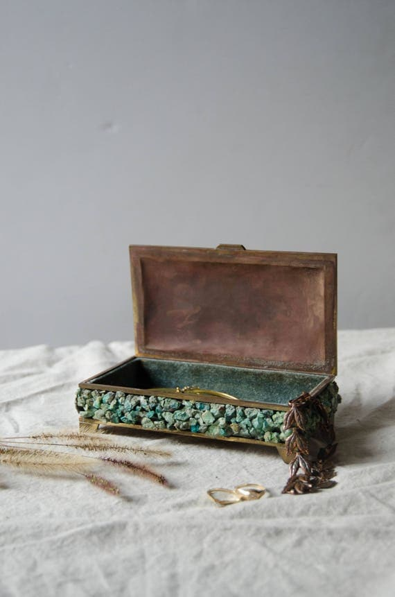 Vintage jewelry box. Blue and copper