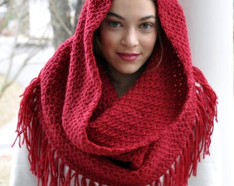 Crochet Pattern - Crochet Hooded Cowl Pattern - Oversized Cowl Pattern - Crochet Cowl with Fringe - 5 Sizes - Musette