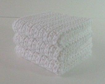 Crochet Washcloth Set, White Washcloths, Crochet Dishcloths, Crochet Washcloths, Spa Washcloths, Housewarming Gift, Bridal Shower Gift